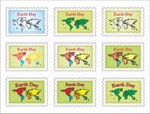Post zegel-wereld kaart Stock Fotografie