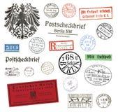 Postzegels en etiketten van Berlijn, Duitsland Stock Foto