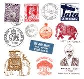 Postzegels en etiketten van India Stock Afbeeldingen