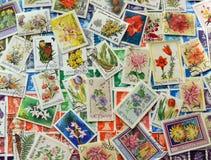 Postzegels met bloemen royalty-vrije stock fotografie