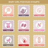 Postzegels met de voorwerpen van het babymeisje Stock Afbeeldingen