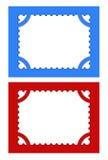 Postzegels op rode en blauwe achtergronden. Stock Fotografie
