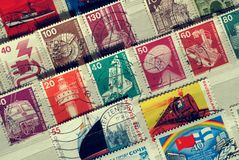 Postzegels van Duitsland op Technische onderwerpen Medio 20ste eeuw stock foto