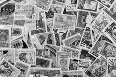 Postzegels van verschillende landen en tijden Achtergrond royalty-vrije stock foto's