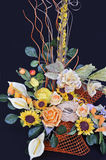 Posy. Elegant posy of artificial flowers in a flowerpot Royalty Free Stock Photos