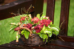Posy on bench. Posy of flowers in basket Stock Images