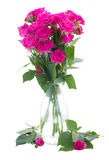 Posy of blossoming pink roses in vase Royalty Free Stock Photos