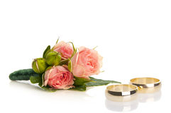 Posy bouquet. Nice wedding rose posy bouquet with rings Stock Images
