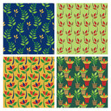 Posy Patterns. Collection of four floral patterns. Each pattern is on a separate layer (and in swatches palette) and colors are grouped for easy editing Royalty Free Stock Image