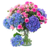 Posy of pink roses and blue hortensia flowers close up. Posy of fresh pink roses and blue hortenzia flowers close up in glass vase isolated on white background stock images