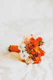 Posy rose flowers. Red posy rose flowers on white blanket Stock Photos