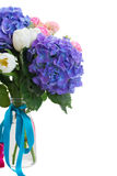Posy   of white tulips, pink roses and blue hortensia flowers. Posy   of white tulips, pink roses  and blue hortensia flowers close up  isolated on white Stock Image