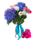 Posy   of white tulips, pink roses and blue hortensia flowers Royalty Free Stock Photo
