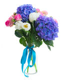 Posy   of white tulips, pink roses and blue hortensia flowers. Posy   of white tulips, pink roses  and blue hortensia flowers   isolated on white background Stock Image