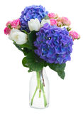 Posy   of white tulips, pink roses and blue Royalty Free Stock Images