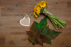 Posy of Yellow Dandelions,Heart Wish Card,Green Leaves.Garden`s. Background.Wooden Table Stock Photo