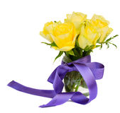 Posy of yellow roses. Posy  of yellow roses in transparent pots   isolated on white background Royalty Free Stock Images