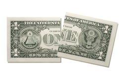 Poszarpana dolar amerykański notatka, zakończenie zdjęcia royalty free