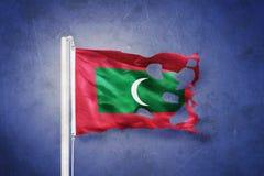 Poszarpana flaga Maldives lata przeciw grunge tłu Fotografia Stock