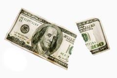 Poszarpani Sto Dolarowych Bill Odosobniony XXXL Zdjęcie Stock