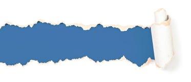 Poszarpany lub rozdzierający papierowy błękitny chodnikowiec odizolowywający Obraz Stock