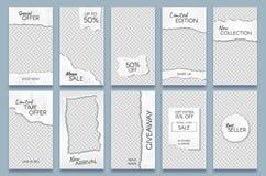 Poszarpany papierowy opowieść szablon Papierowych świstków ogólnospołeczna medialna opowieść wysyła oznakujący, minimalni trend f ilustracja wektor