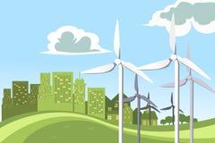 Potência das turbinas de vento ilustração royalty free