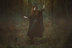 Potężna lasowa czarownicy lewitacja Obraz Royalty Free