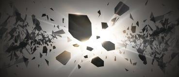 Potężne wybuchu czerni cząsteczki na ciemnym tle Wybuch chmura czerń kawałki z jarzeniowymi światłami wektor ilustracji