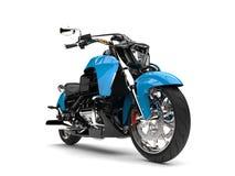 Potężny nowożytny błękitny siekacza motocykl - zbliżenie strzał Zdjęcie Stock