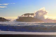 Potężny Rozbijać Macha przy południe plażą, Pacific Rim park narodowy, Vancouver wyspa zdjęcie royalty free