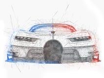Potężny super samochód wyścigowy - technika rysunek Zdjęcia Stock