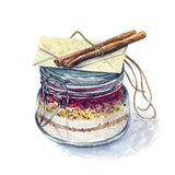 Pot à cuire couvert tiré par la main d'aquarelle colorée Images libres de droits