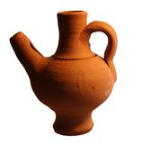 Pot. A brown pot made of burned clay isolated on a white background Royalty Free Stock Photo