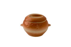 Pot. Clay pot with a lid for cooking on a white background Stock Images