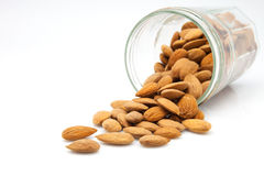 Pot with almonds Royalty Free Stock Image