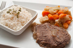 Pot-au-feu with beef and rice royalty free stock photos