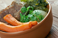 Pot-au-feu. French beef stew royalty free stock images