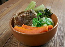 Pot-au-feu. French beef stew stock image