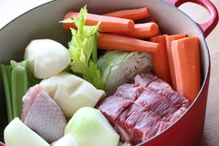 Pot au Feu Ingredients in Dutch Oven Royalty Free Stock Photos