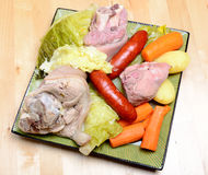 Pot-au-feu with meat and vegetables in a dish Royalty Free Stock Photos