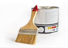 Pot avec la peinture et la brosse Image stock