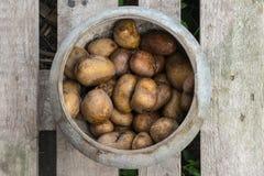 Pot avec les pommes vapeur Photos libres de droits