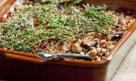 Pot barley. With smoked meat (called kuba - Czech meal Stock Images