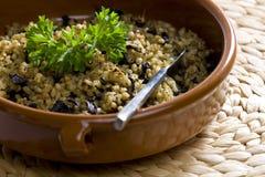 Pot barley soup. With mushrooms (called kuba - Czech meal Stock Photos