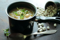 Pot with bean soup Royalty Free Stock Photos