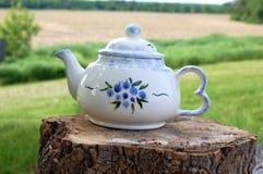 Pot blanc de thé de pays Image libre de droits
