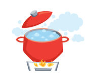 Pot with boil water Stock Image