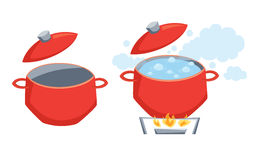 Pot with boil water. On stove or empty. Cooking process vector illustration. Kitchenware and utensils isolated on white. Tasty food royalty free illustration