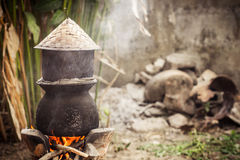 Pot boiling water for cooking sticky rice Royalty Free Stock Photography